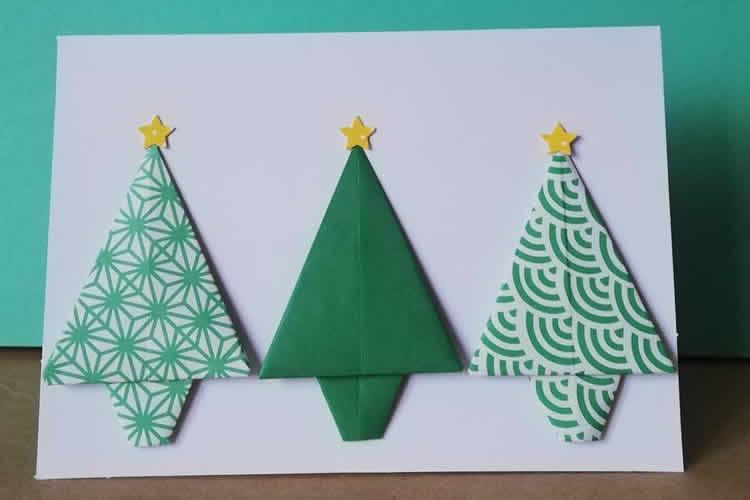 7 Postals d'arbres de Nadal origami