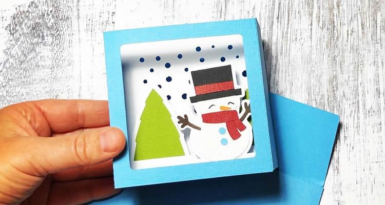 7 Postals d'arbres de Nadal ninot de neu
