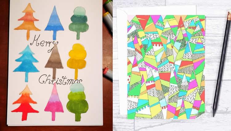 7 Postals d'arbres de Nadal pintant