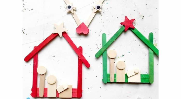 Decoració nadalenca amb pals de gelat pessebre