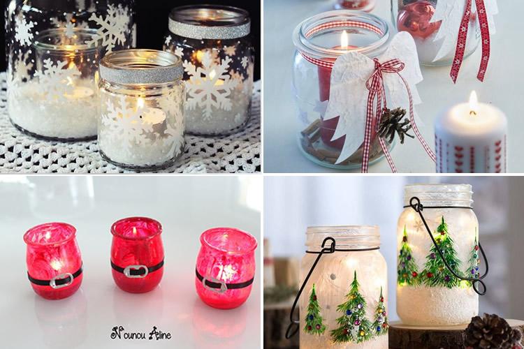 Espelmes de Nadal en pot de vidre