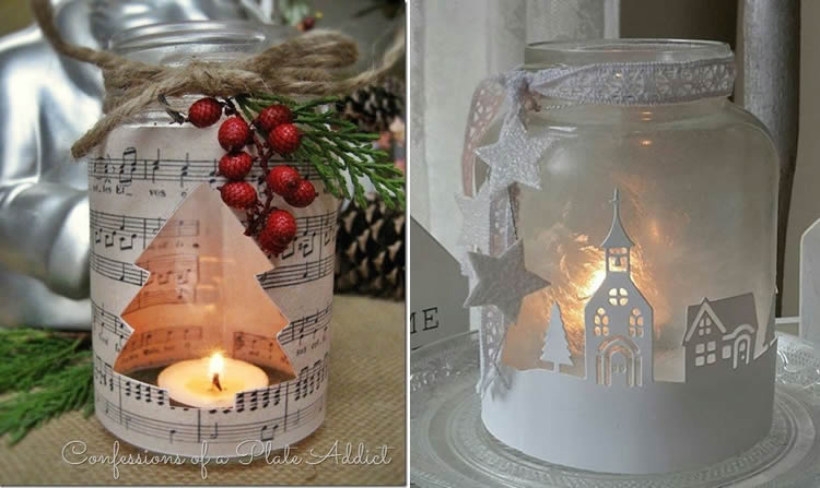 Espelmes de Nadal en pot de vidre paper