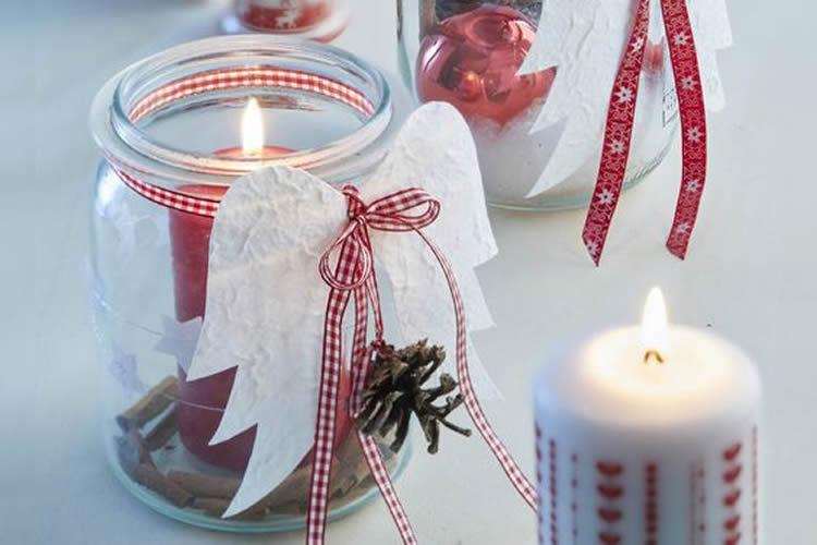 Espelmes de Nadal en pot de vidre angelet