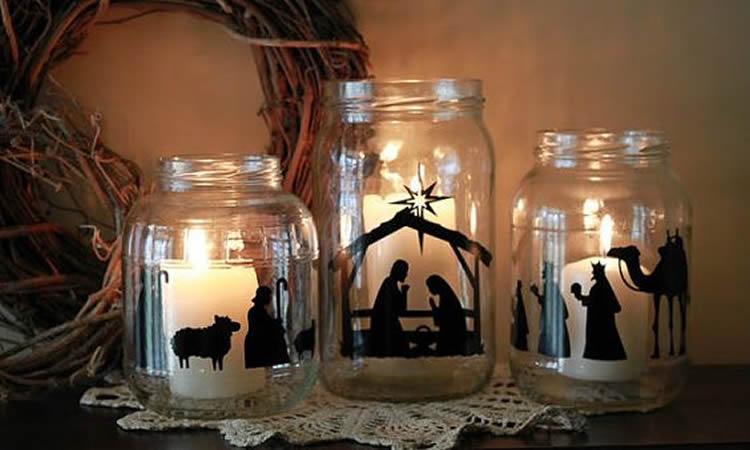 Espelmes de Nadal en pot de vidre pessebre