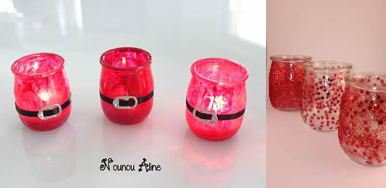 Espelmes de Nadal en pot de vidre pare noel