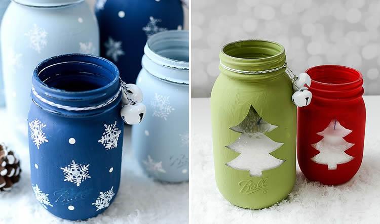 Espelmes de Nadal en pot de vidre pintura
