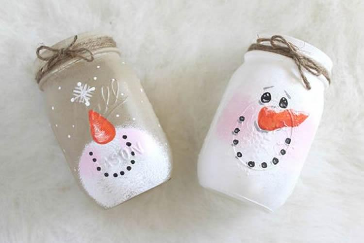 Espelmes de Nadal en pot de vidre ninot de neu