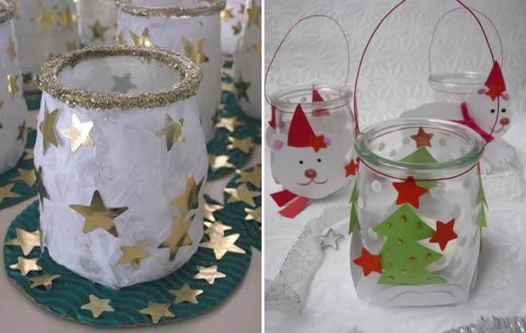 Espelmes de Nadal en iogurt de vidre