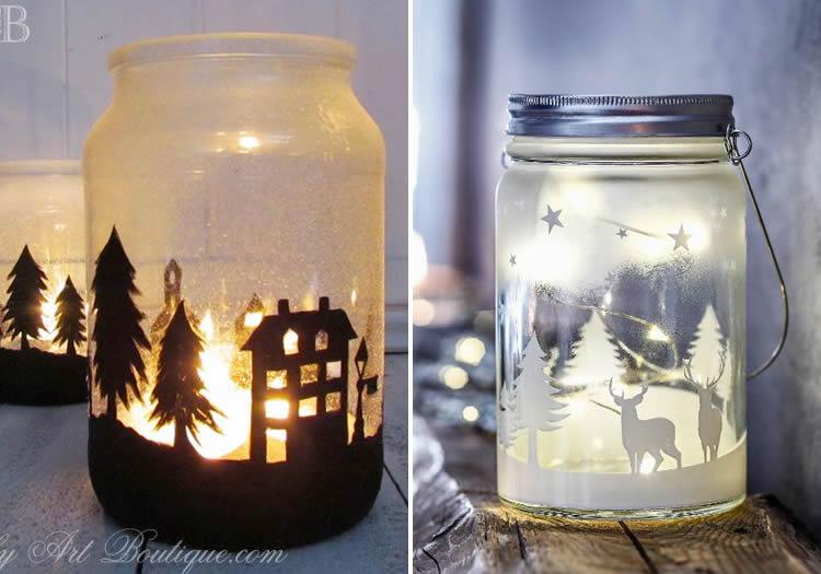 Espelmes de Nadal en pot de vidre siluetes