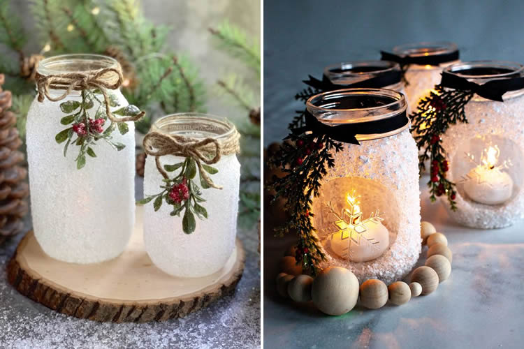Espelmes de Nadal en pot de vidre sal gruixuda