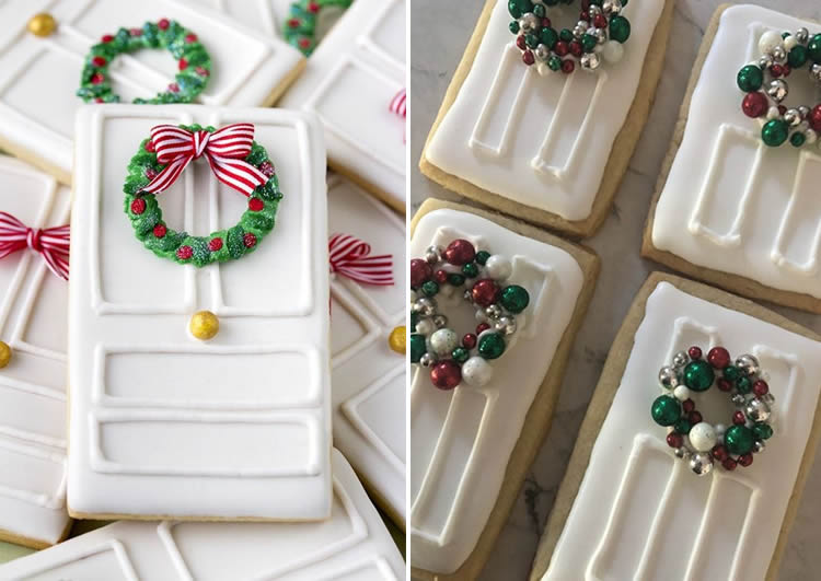 Galetes de portes de gingebre per al Pare Noel en blanc