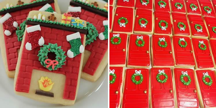 Galetes de portes de gingebre per al Pare Noel en vermell