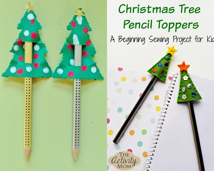 Llapis decorats per Nadal amb toppers