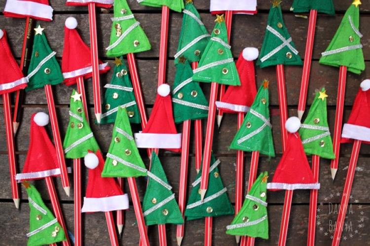 Llapis decorats per Nadal toppers feltre