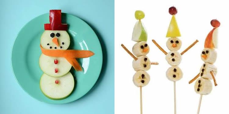 receptes de fruita per Nadal ninots de neu