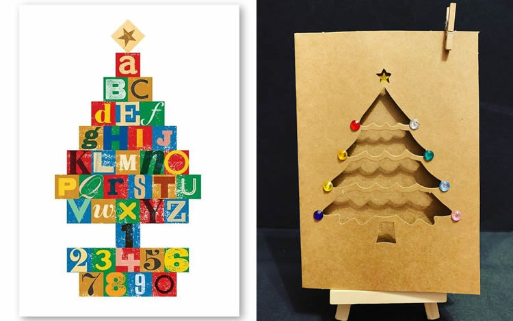 12 postals de Nadal d'avets retallant i enganxant