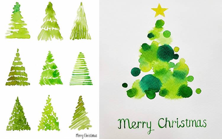 postals de Nadal d'avets verds