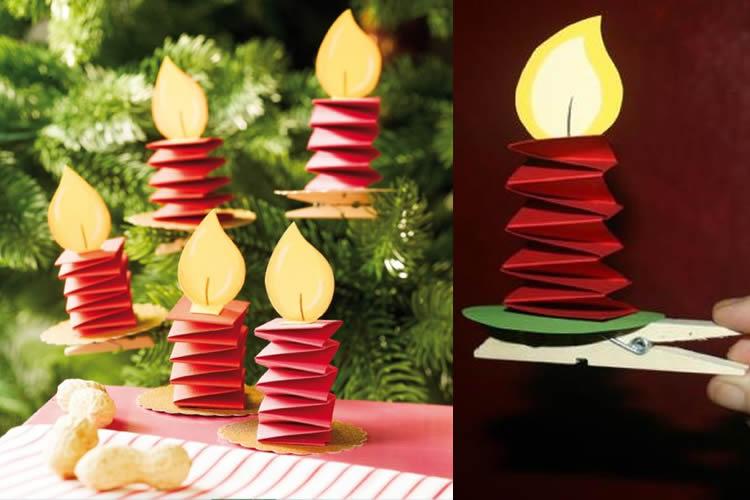 Espelmes amb agulles de fusta i cartolina