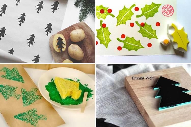 segells de nadal amb diferents materials