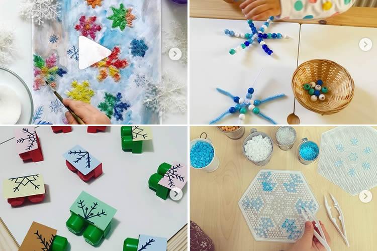 Flocs de neu amb materials diferents