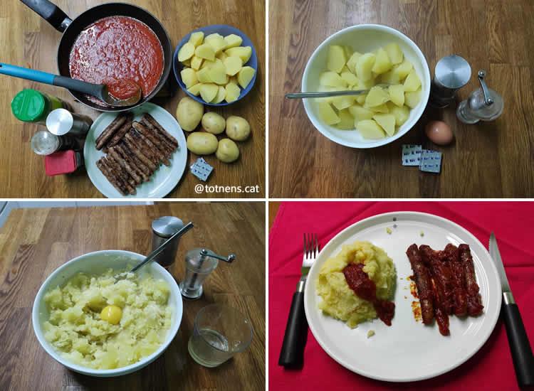 salsitxes amb volcà de puré de patata  elaboracio