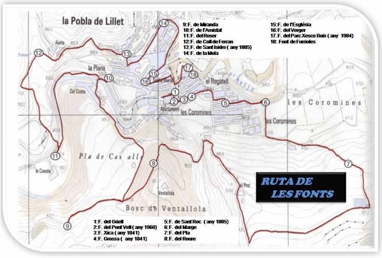 Ruta de les fonts a la Pobla de Lillet mapa