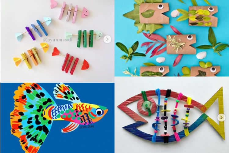 Fem peixos de colors